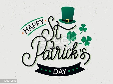 Vector hand drawn St. Patrick's Day logotype. Lettering typography with leprechaun's hat, shamrocks and design elements. Festive illustration for poster, flyer, party invitation, tee, badge, icon