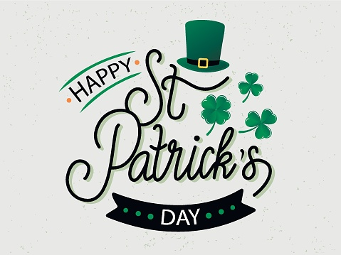 Vector hand drawn St. Patrick's Day logotype. Lettering typography with leprechaun's hat, shamrocks and design elements. Festive stock illustration