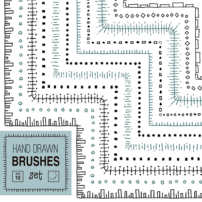 Vector hand drawn striped ornamental brushes set