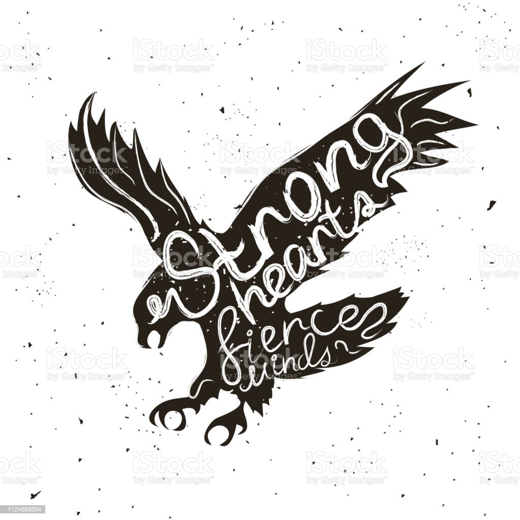 Vector Hand Drawn Style Typographic Poster With Flying Eagle