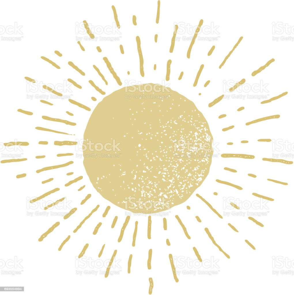 Vector hand drawn sun vector art illustration