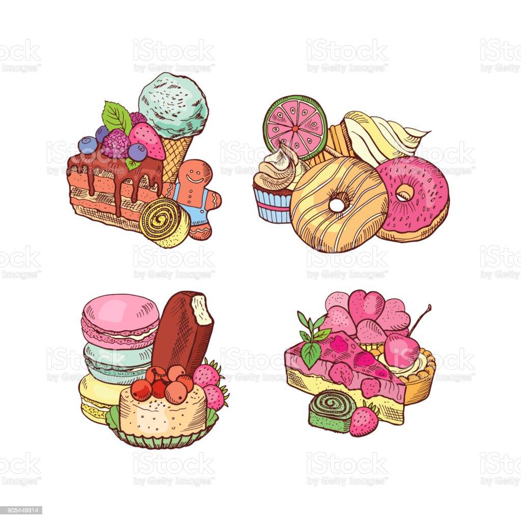 Vector hand drawn sweets piles set vector art illustration