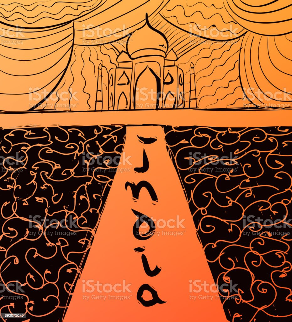 Vector hand drawn Taj Mahal and calligraphic text. India style illustration. vector art illustration