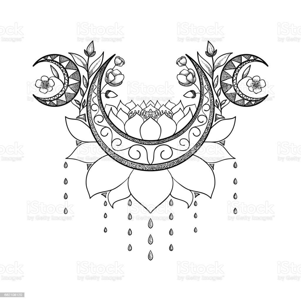 Mano de vector dibujado diseño de tatuaje. Crescent moon, lotus y flores composición. Tema sagrado - ilustración de arte vectorial