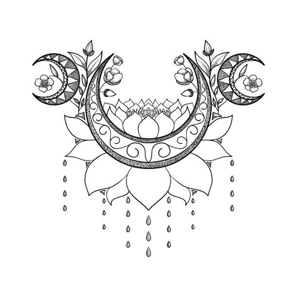 ilustraciones, imágenes clip art, dibujos animados e iconos de stock de mano de vector dibujado diseño de tatuaje. crescent moon, lotus y flores composición. tema sagrado - tatuajes de luna