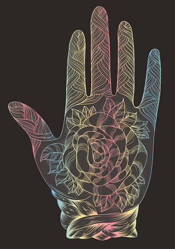 Vector hand drawn tattooed arm with a rose andweave patterns. Pattern page A4 size Indian traditional lifestyle. Ornament Decorated dark silhouette with colourful gradient line