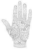 Vector hand drawn tattooed arm with mehendi patterns.