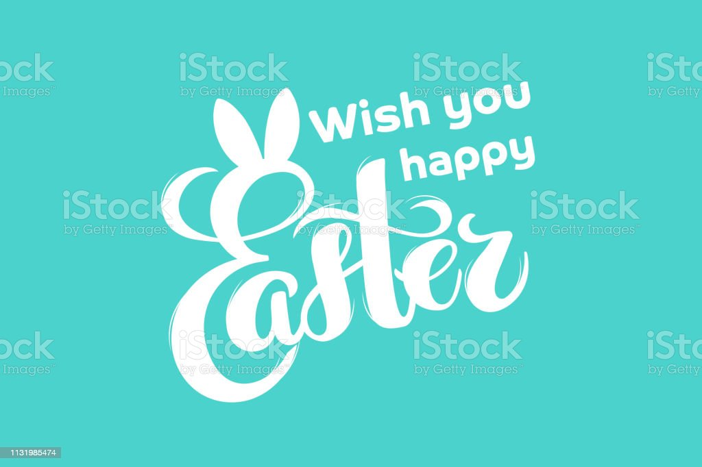 Vector hand drawn text Happy Easter with bunny ears for greeting...