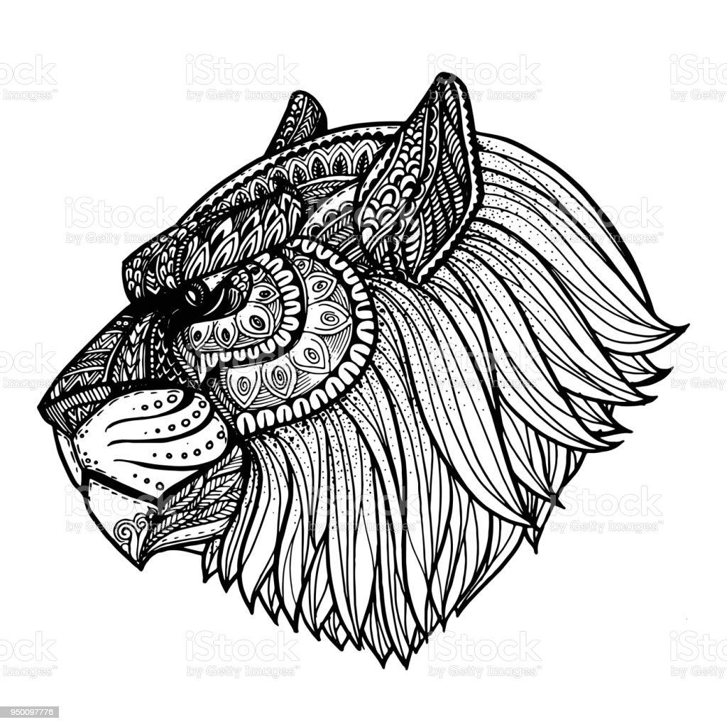 Mano De Vector Dibujado Cara De Tigre Arte Blanco Y Negro Étnica Con ...