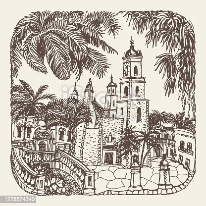 Vector hand drawn trace of fantasy urban Mexican landscape with palms, medieval town street houses, church. Brown doodle sketch on a beige. Tee shirt print, brochure cover, adults coloring book page