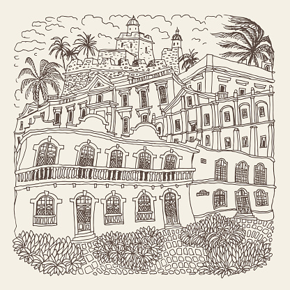 Vector hand drawn trace of fantasy urban Mexican landscape with medieval castle, palms, town street, houses, church. Brown doodle sketch. Tee shirt print, brochure cover, adults coloring book page