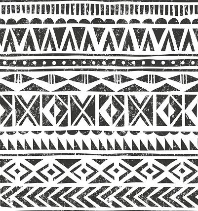 Vector hand drawn tribal print. Primitive geometric background in grunge