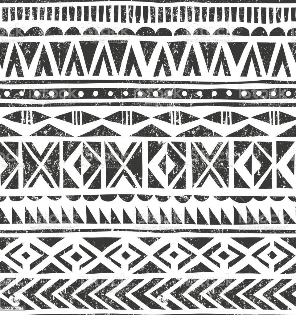 Vetor desenho à mão estampa tribal. Geométrico fundo de grunge primitivas - ilustração de arte em vetor
