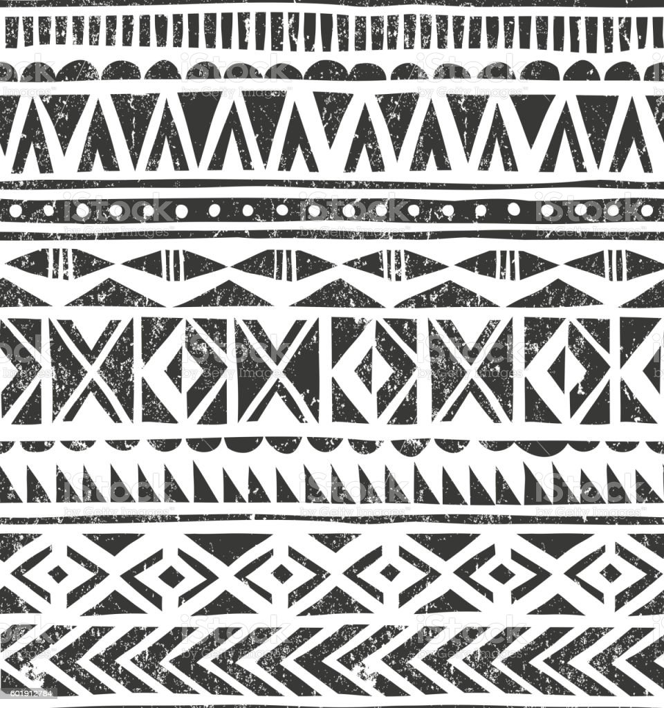 Vector hand drawn tribal print. Primitive geometric background in grunge vector art illustration