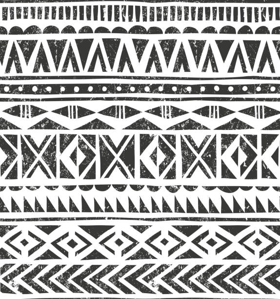 Vector hand drawn tribal print. Primitive geometric background in grunge Hand drawn ethnic pattern. Geometric background in grunge style. EPS10 vector illustration. Contains no transparency and blending modes. linocut stock illustrations