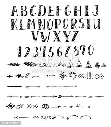 Vector hand drawn typeface in indigenous north american style Handmade alphabet for your designs symbol, posters, wedding invitations, cards, etc.Vector hand drawn typeface in indigenous north american style Handmade alphabet for your designs symbol, posters, wedding invitations, cards, etc.