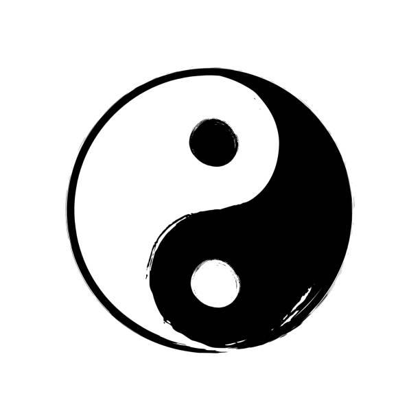 ilustraciones, imágenes clip art, dibujos animados e iconos de stock de vector dibujado a mano acuarela pincel yin yang símbolo de la armonía. equilibrar el signo de círculo blanco y negro sobre fondo blanco. la ilustración de la religión buddism ying yang - yin yang symbol