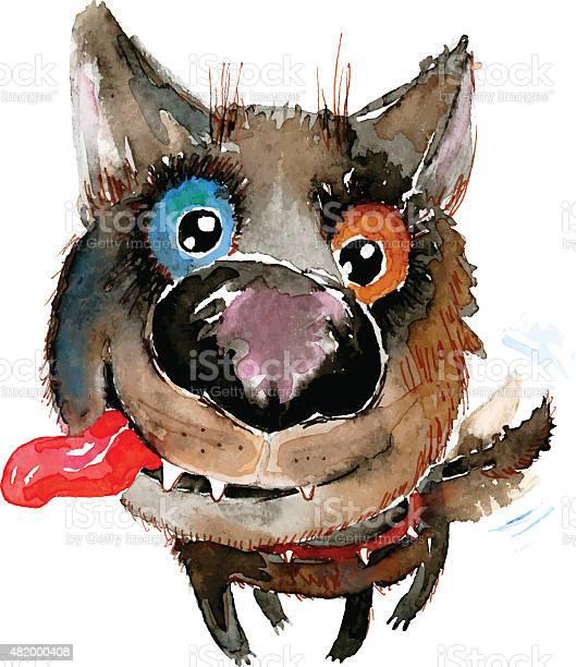 Vector hand drawn watercolor happy funny dog vector id482000408?b=1&k=6&m=482000408&s=612x612&h=vn0ip6wkd6jiw bjpt9nxjsostybru52k 0assd239c=
