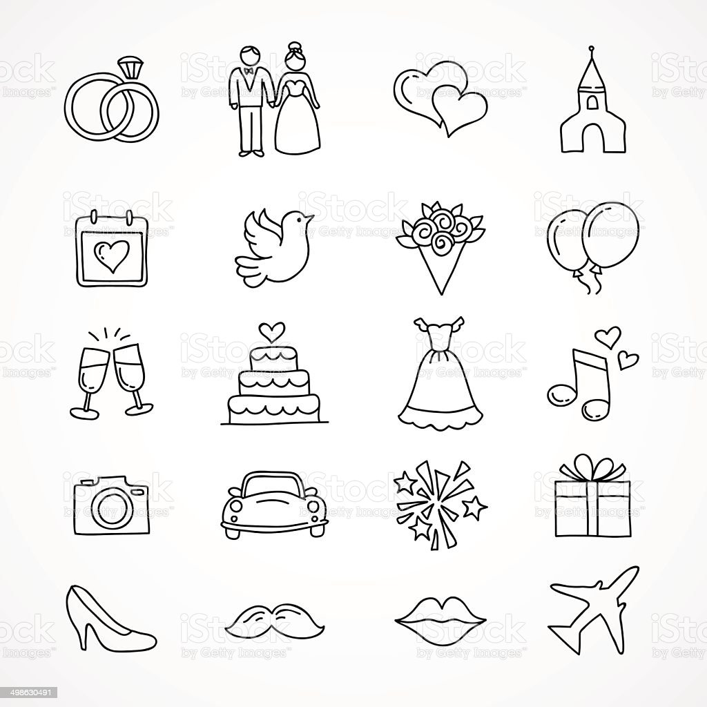 Vector hand drawn wedding icons vector art illustration