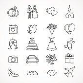 Vector hand drawn wedding icons