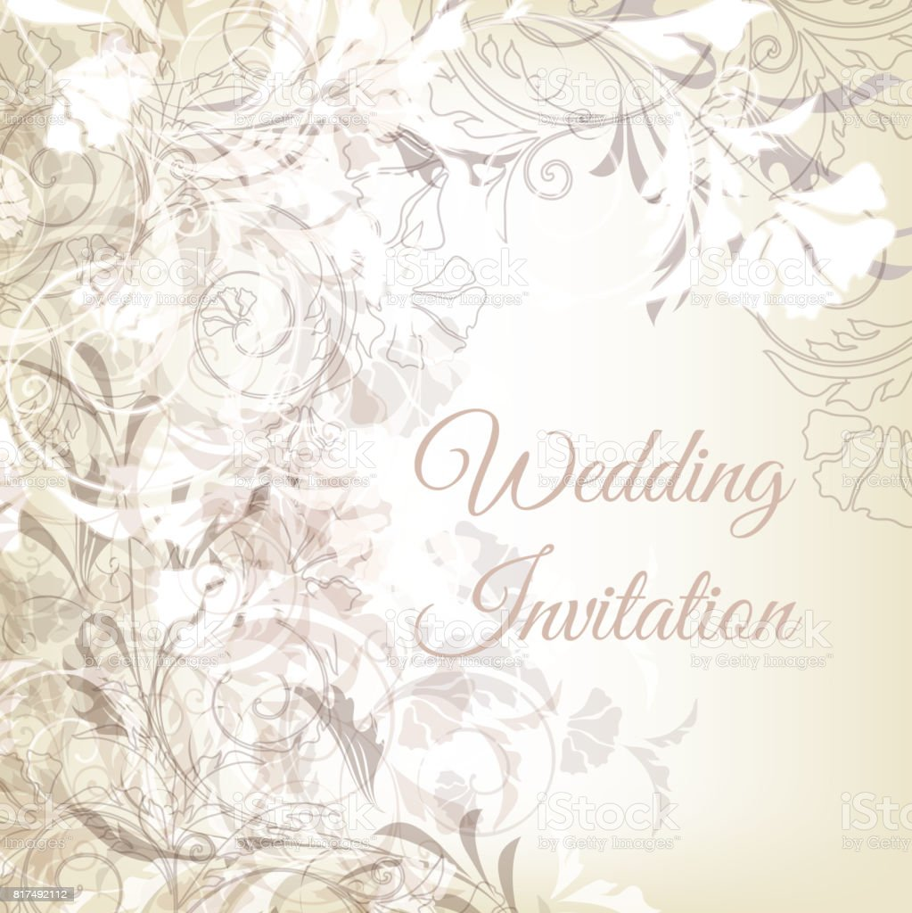 Vector Hand Drawn Wedding Invitation Design In Classic Floral Style ...