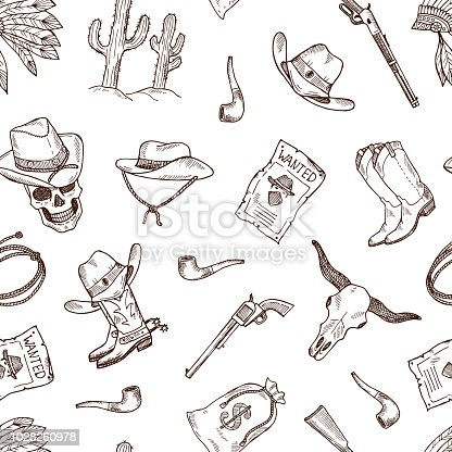 Vector hand drawn wild west cowboy monochrome seamless pattern or background illustration