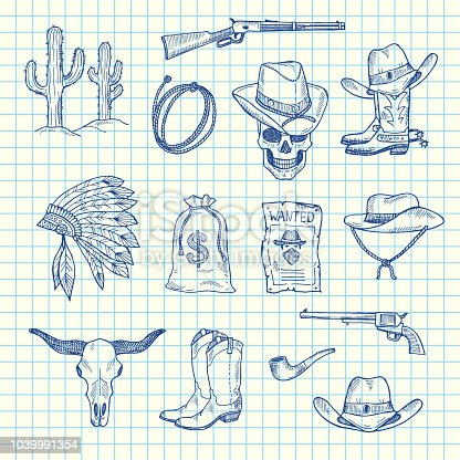 Vector hand drawn wild west cowboy elements set on blue cell sheet background illustration