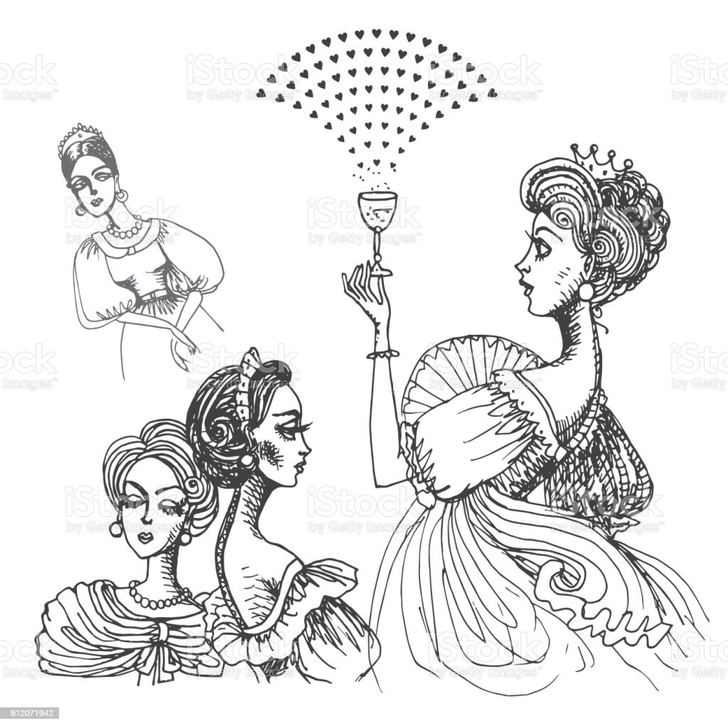 Vector Mano Dibujada Mujer Con Corona De Princesa Aislada Sobre ...