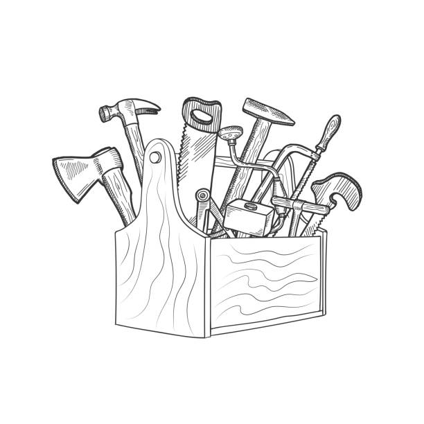 342 Toolbox Drawing Sketch Work Tool Illustrations Clip Art Istock