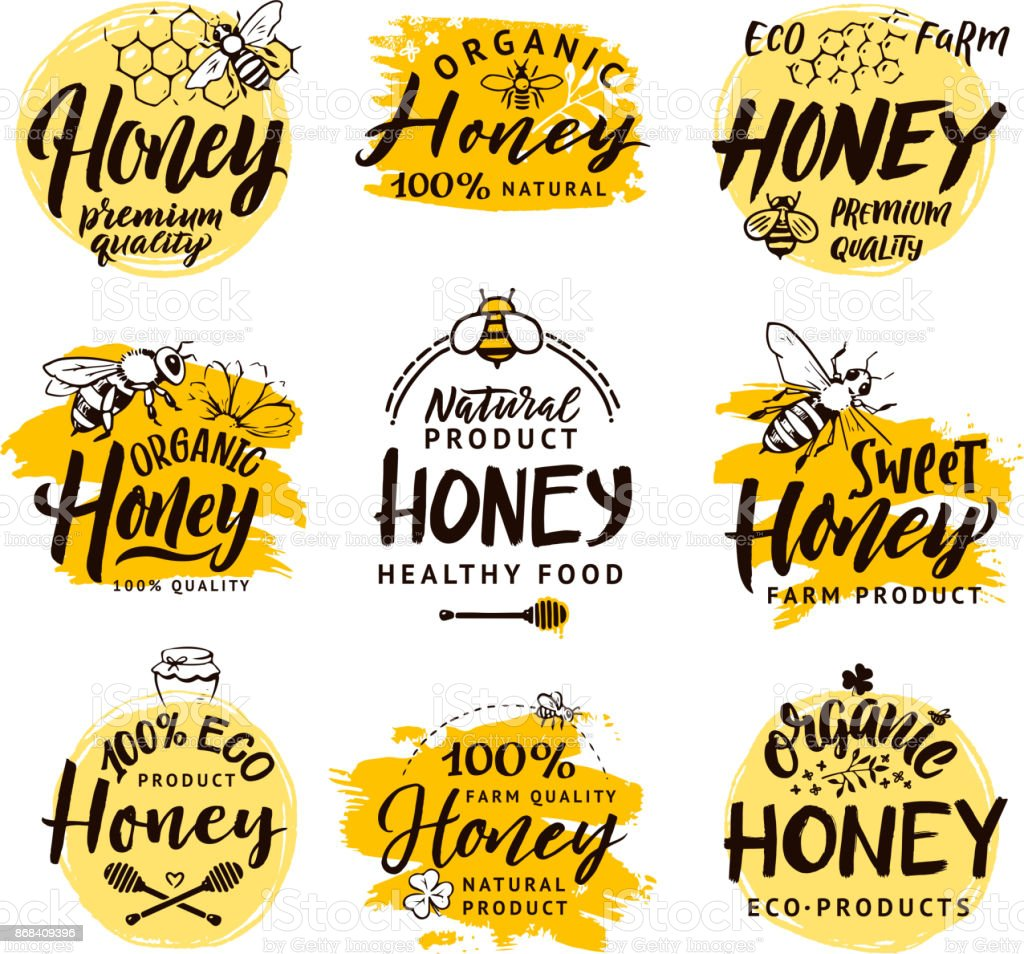 Vector hand drawn words and letters. Logo set for honey products – artystyczna grafika wektorowa