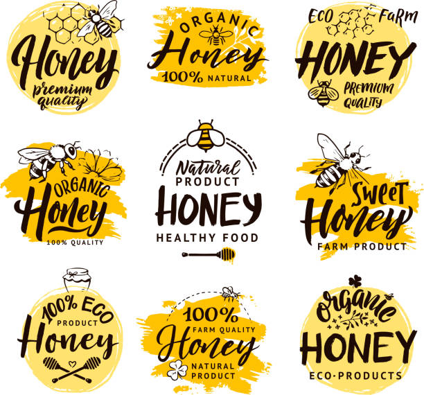 illustrazioni stock, clip art, cartoni animati e icone di tendenza di vector hand drawn words and letters. logo set for honey products - miele dolci