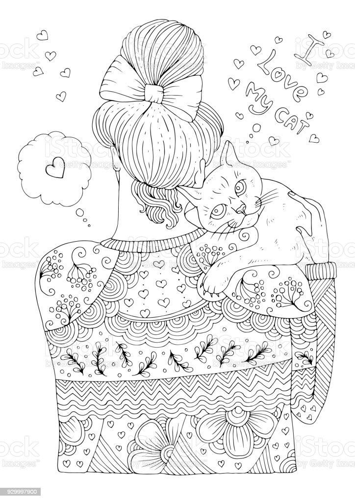 Ilustración de Vector Mano Dibujada Niña En Un Suéter Estampado Está ...