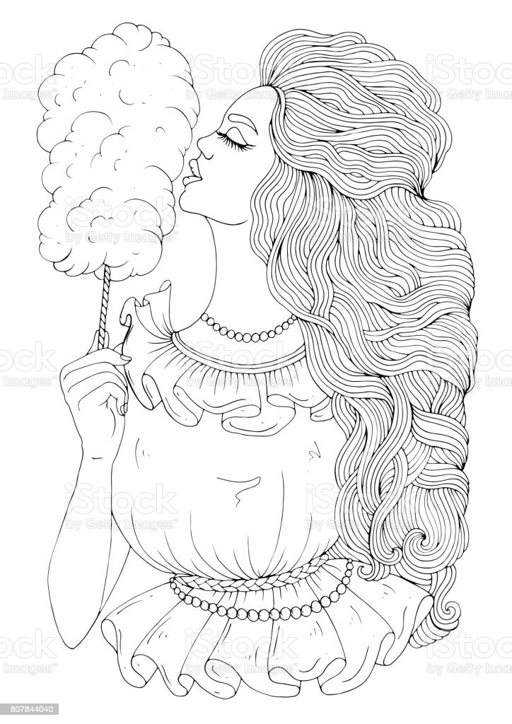 Vector Hand Drawn Young Girl With Long Wavy Developing Hair Eating