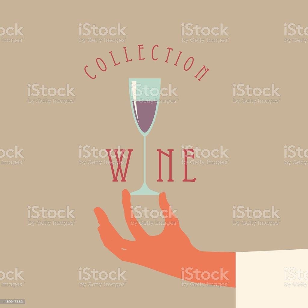 Vector hand holding a wine glass. vector art illustration