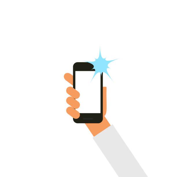 vektor hand holding smartphone.  nehmen selfie mit blitz. - selfie stock-grafiken, -clipart, -cartoons und -symbole