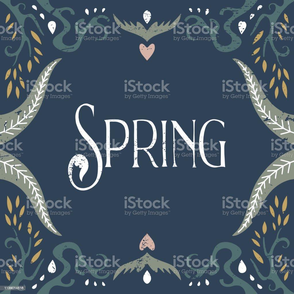 Vector hand lettered calligraphic vintage postcard, floral frame,...