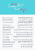 vector hand lettering Calligraphic alphabet