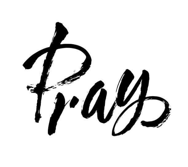 向量。手寫的文字基督教報價祈禱。手繪勵志報價。墨蹟插圖。現代毛筆書法。隔離在白色背景上。可用於列印、橫幅、標籤。 - prayer 幅插畫檔、美工圖案、卡通及圖標