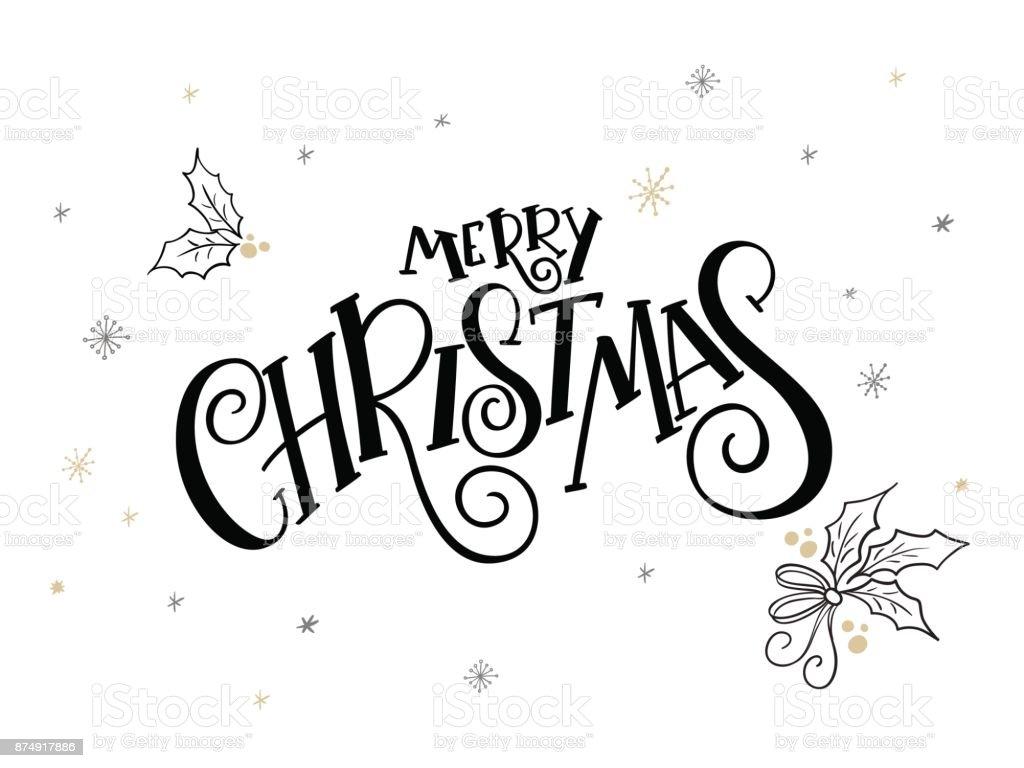 Vektor Hand Schriftzug Weihnachten Grüße Text Frohe Weihnachten Mit ...