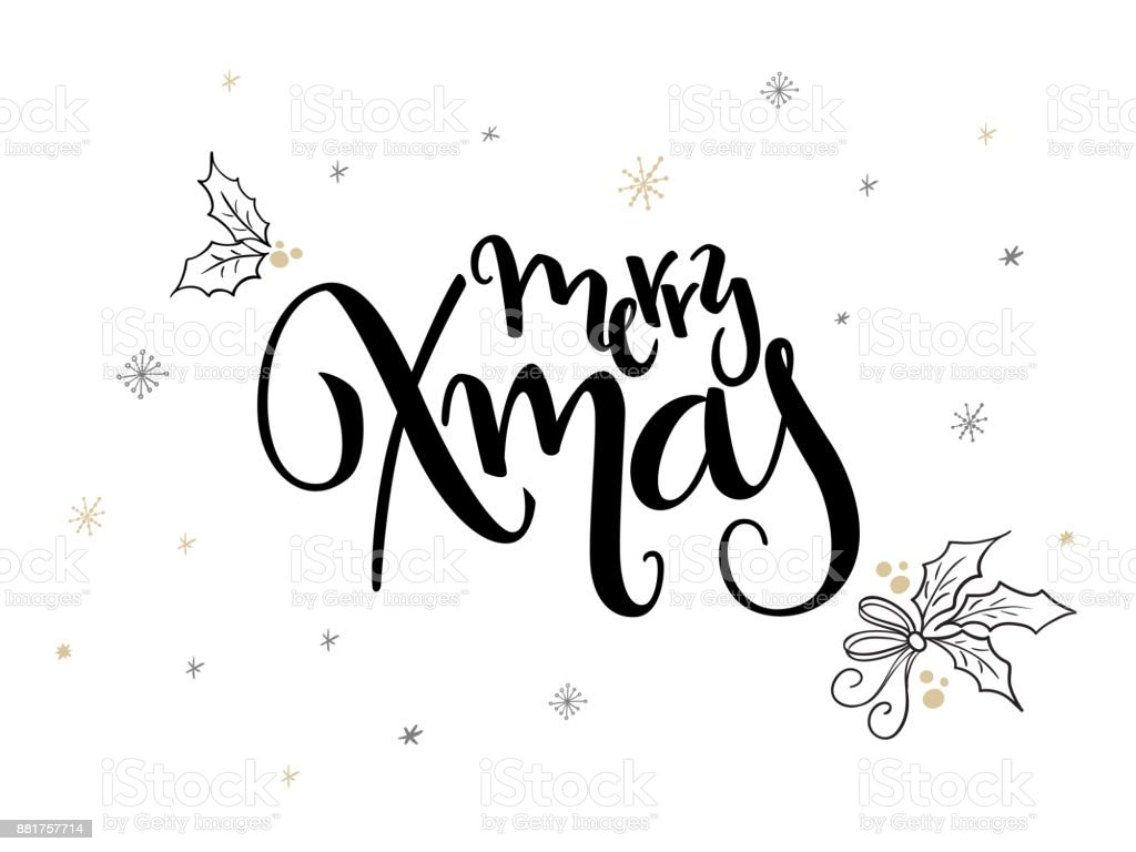 Line Drawing Xmas : Vector hand lettering christmas greetings text merry xmas with