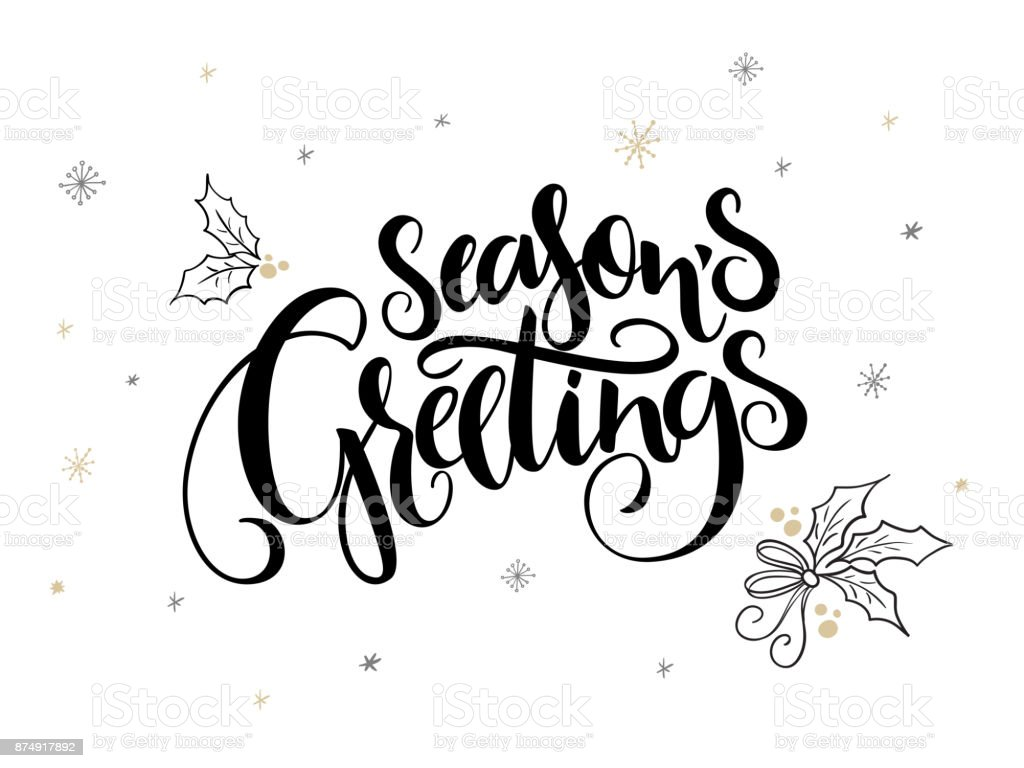 Vector hand lettering christmas greetings text seasons greetings vector hand lettering christmas greetings text seasons greetings with holly leaves and snowflakes royalty kristyandbryce Image collections