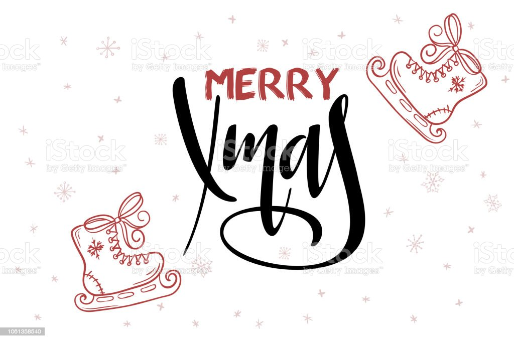 Vector Hand Lettering Greeting Merry Christmas Text With Doodle ...