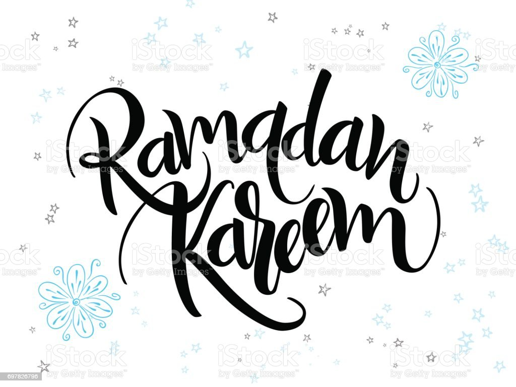 vector hand lettering greetings ramadan kareem text with doodle flowers and stars vector art illustration