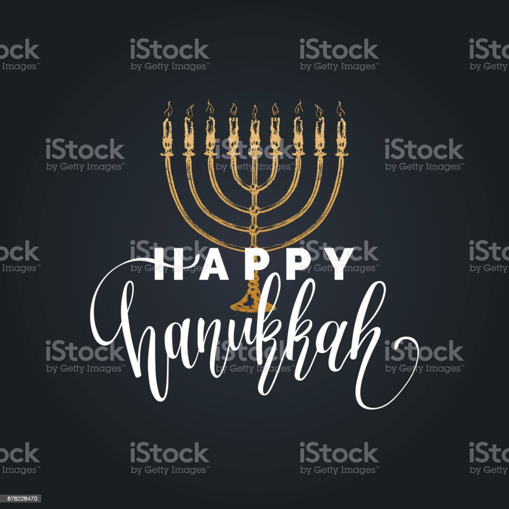 Vector hand lettering Happy Hanukkah illustration. Festive poster, greeting card template with Menorah sketch. vector art illustration