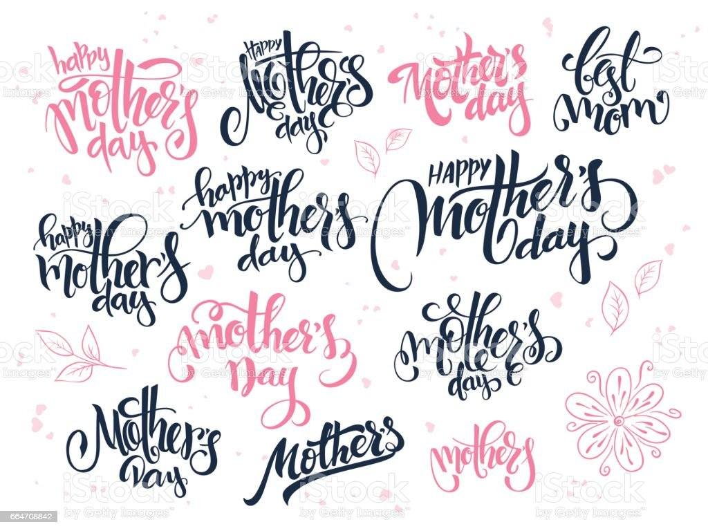 vector hand lettering happy mother's day text set, written in various styles with doodle flowers and hearts vector art illustration