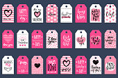Vector hand lettering phrases You Are The Best, Fall In Love etc on labels or tags. February 14 calligraphy set. Valentines day typography.