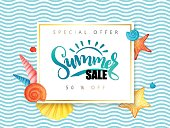 vector hand lettering summer sale banner surrounded with detailed flat and doodle seashells on wave background
