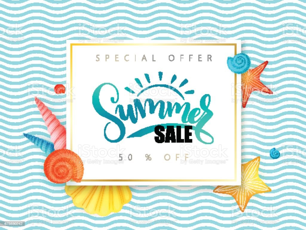 vector hand lettering summer sale banner surrounded with detailed flat and doodle seashells on wave background ベクターアートイラスト