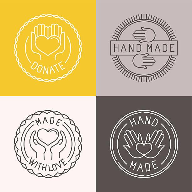 wektor ręcznie wykonane etykiety i odznaki - pieczęć znaczek stock illustrations
