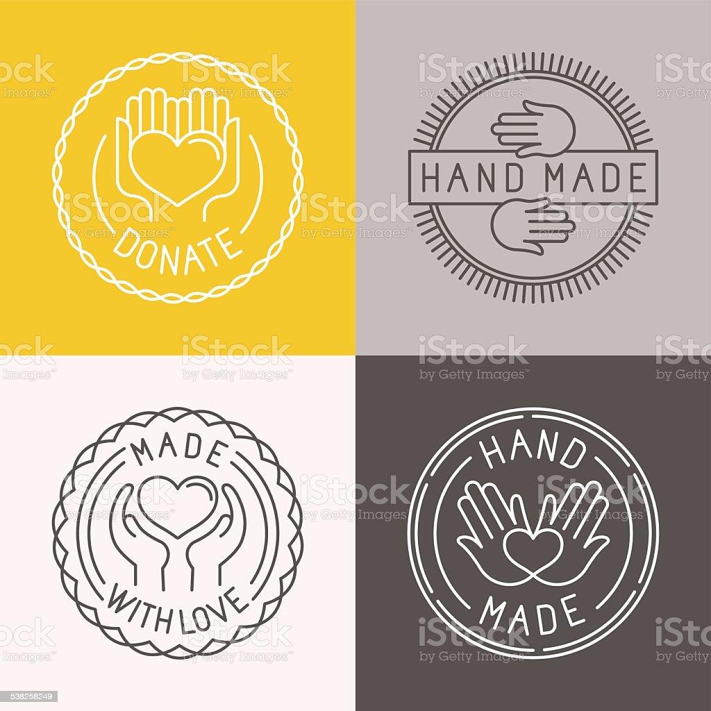 Vetor feitas a mão, etiquetas e Emblemas - ilustração de arte em vetor